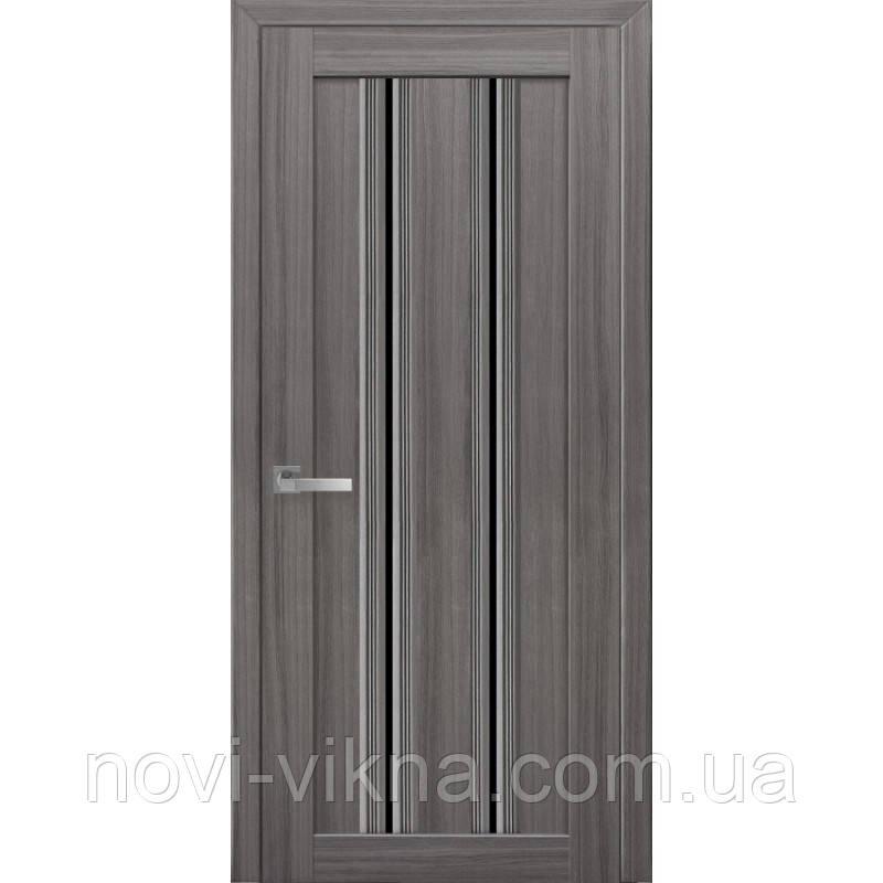 Дверь межкомнатная Верона С1 жемчуг графит 600 мм со стеклом BLK (черное).