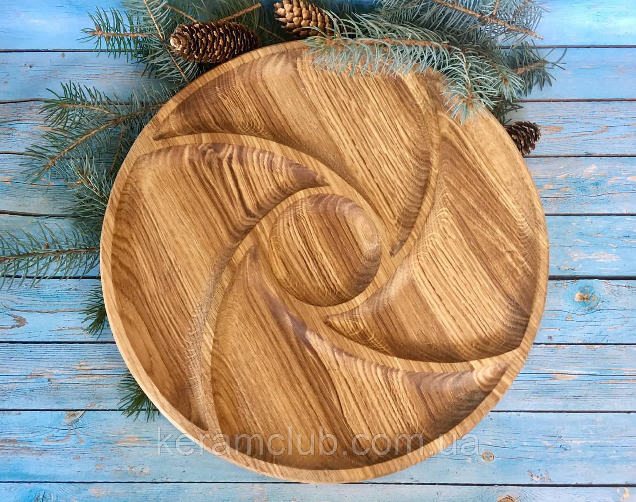 Деревянное блюдо-менажница 5 сегменов d 35 см