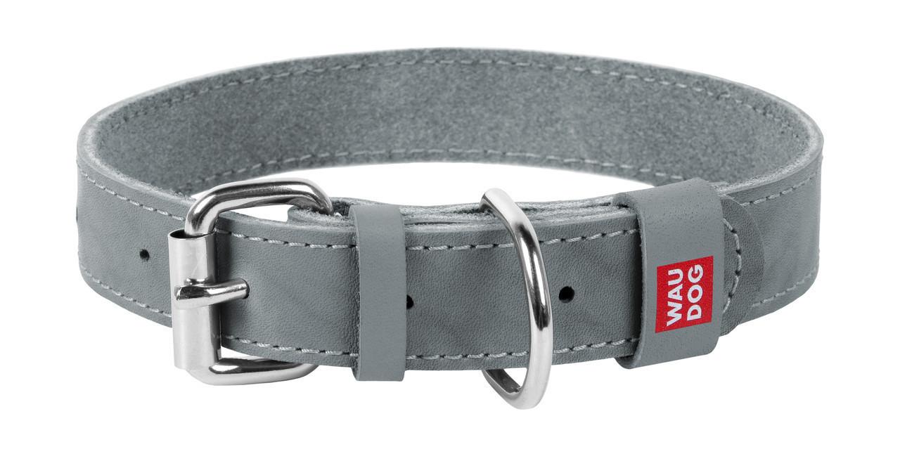 Нашийник шкіра 30-39 см 20 мм Waudog Classic Collar для собак