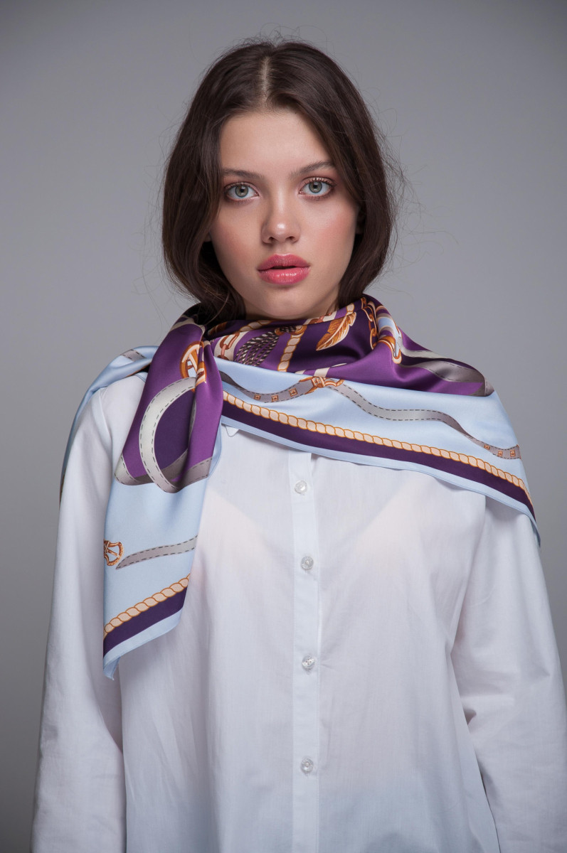 Платок-каре KIFA принт Chains Purple