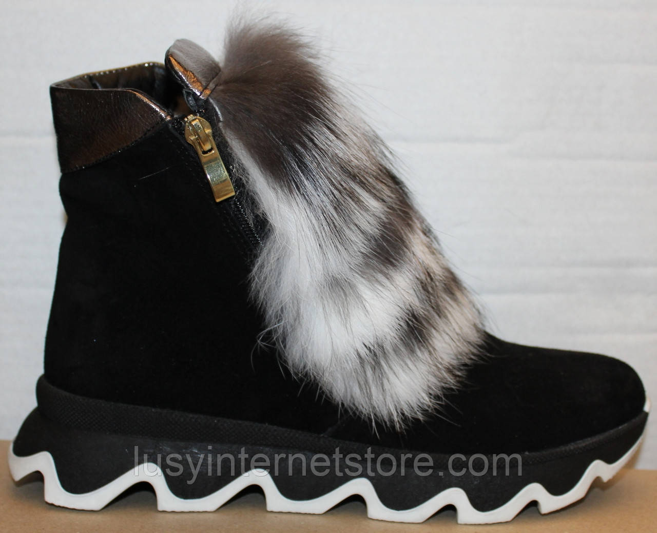 Ботинки молодежные женские с натуральным мехом от производителя модель УН433-1