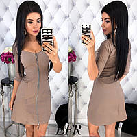 Короткое приталенное женское платье на молнии с карманами С-М, Л-ХЛ