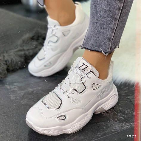 """Кроссовки женские """"Folosde"""" белого цвета из эко кожи. Кеды женские. Мокасины женские. Обувь женская, фото 2"""