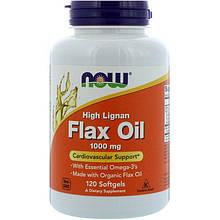 """Льняное масло NOW Foods """"High Lignan Flax Oil"""" 1000 мг, с высоким содержанием лигнана (120 гелевых капсул)"""