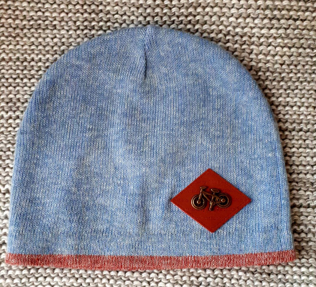 Шапка  на мальчика весна-осень голубой меланж ANPA (Польша) размер 48 50