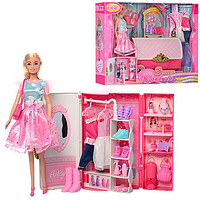 Игровой набор Кукла с гардеробом и сумочкой