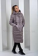Пуховик больших размеров с глянцевой тканью на карманах и вороте Peercat 19-759 цвета капучино, фото 1