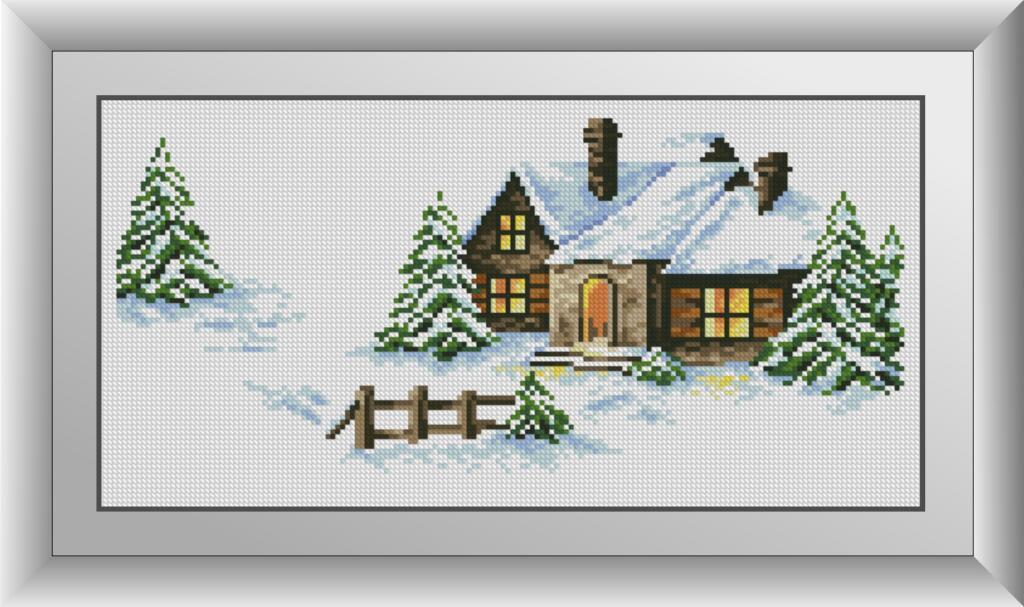 Алмазная техника Заснеженный домик Dream Art 30862 (21 x 42 см)