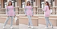 Женский нарядный костюм больших размеров,ткань:турецкая двухнитка с гипюром.