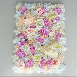 Фотозона з квітів рожеві поліуретан і тканина штучний розмір 60*40см