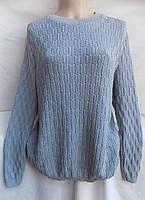 Свитер женский весна-осень большой размер (56/62 универсал) (цвет голубой) СП