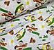 Хлопковая ткань мишки на зеленых вертолетах и самолетах на бежевом, фото 4