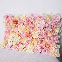 Фотозона з квітів персик поліуретан і тканина штучний розмір 60*40см