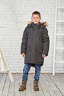 Зимняя куртка на мальчика курточка детская подростковая зима 12-16 лет хаки