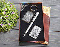 Набор подарочный 3 в 1 ручка, зажигалка, брелок