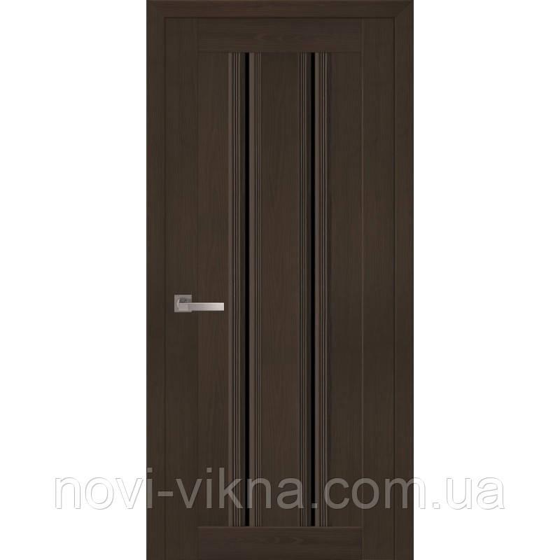 Дверь межкомнатная Верона С1 жемчуг кофейный  600 мм со стеклом BLK (черное).