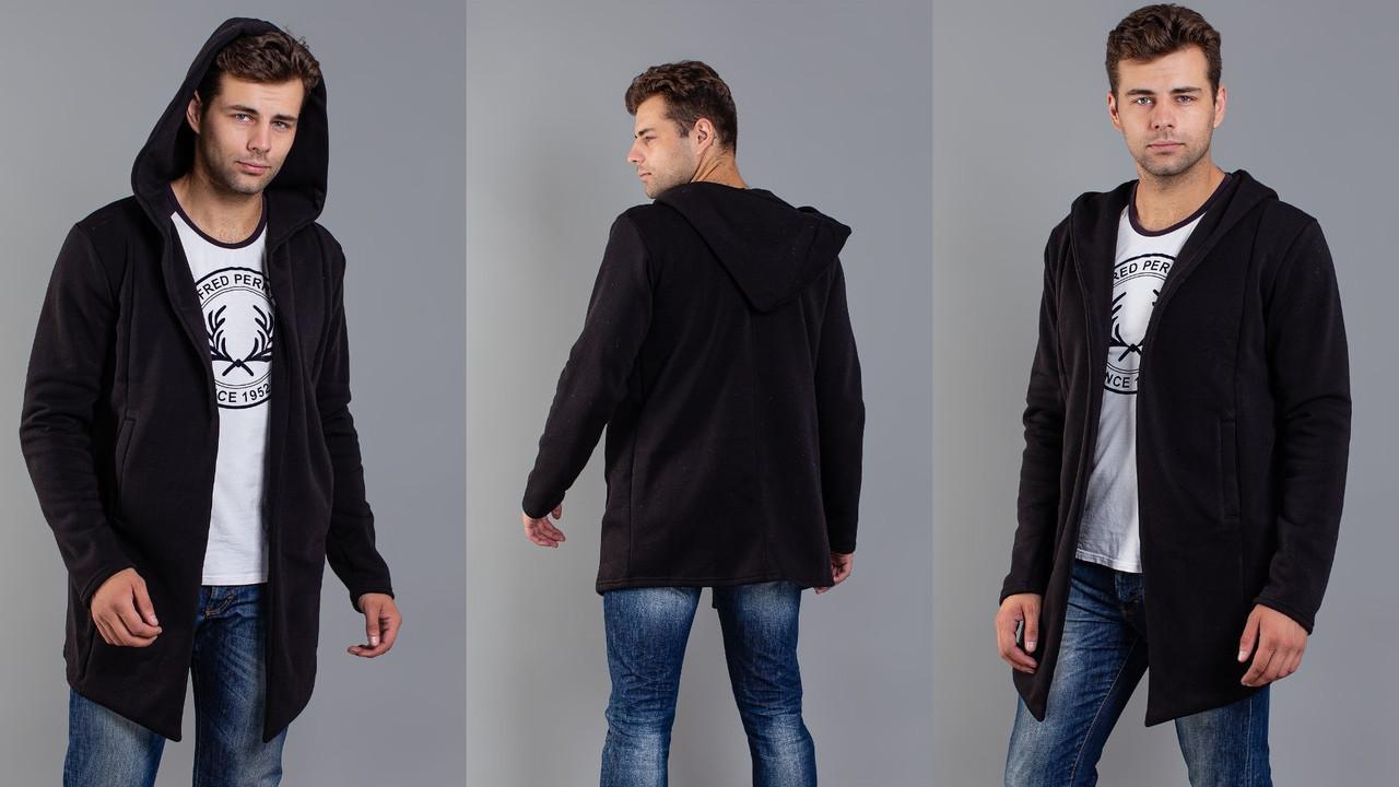 Мужской худи (кофта) удлиненный с капюшоном 46,48,50,52р. (серый,черный)
