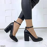 Женские кожаные туфли чёрные на каблуках  Украина = Lanvin =