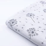 "Ткань муслин ""Одуванчики"" серые на белом, ширина 160 см, фото 3"