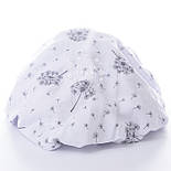 "Ткань муслин ""Одуванчики"" серые на белом, ширина 160 см, фото 2"