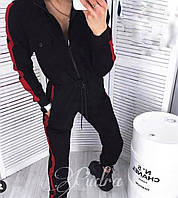 Женский спортивный комбинезон весна-осень Лампас (42-44, 44-46) (цвет черный) СП, фото 1