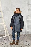 Зимняя куртка на мальчика курточка детская подростковая зима 10-15 лет темно-серая