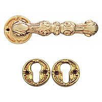 Ручка дверная Poggi & Mariani Carmen с накладками под цилиндр античная латунь (Италия)