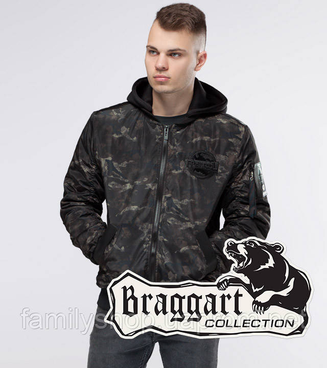 Braggart Youth | Куртка бомбер осенняя 30155 черный-хаки