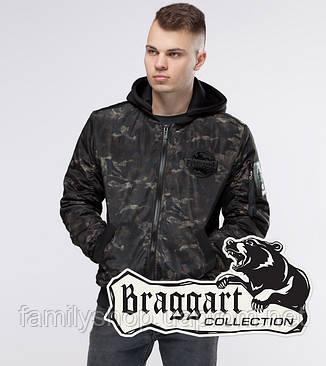 Braggart Youth | Куртка бомбер осенняя 30155 черный-хаки, фото 2