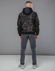 Braggart Youth | Куртка бомбер осенняя 30155 черный-хаки, фото 3