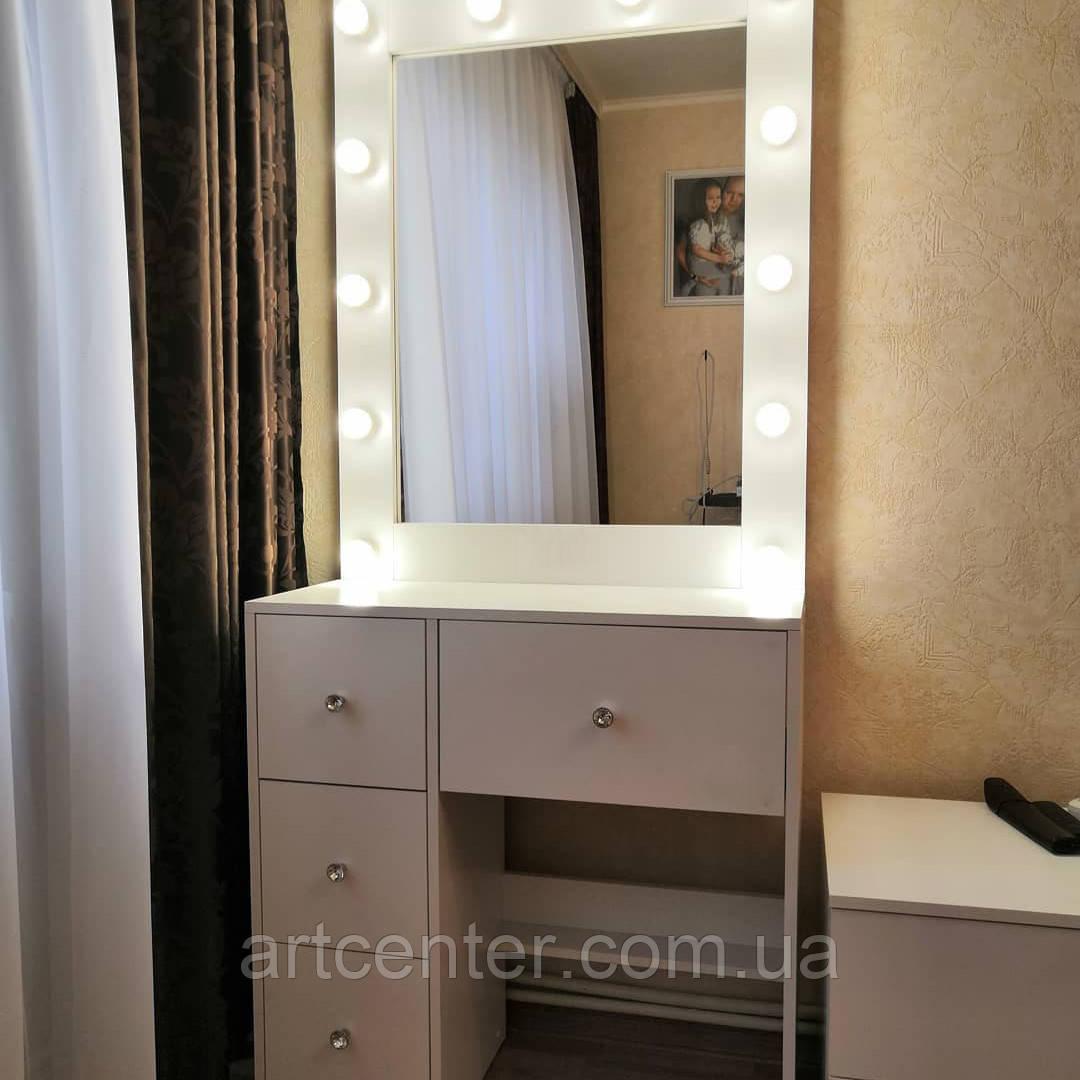 Столик для макияжа с зеркалом,ящиками и ручками кристалами