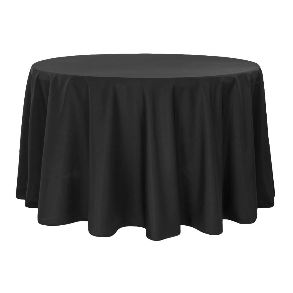 Скатерть круглая габардиновая черная Atteks 145 см - 1411