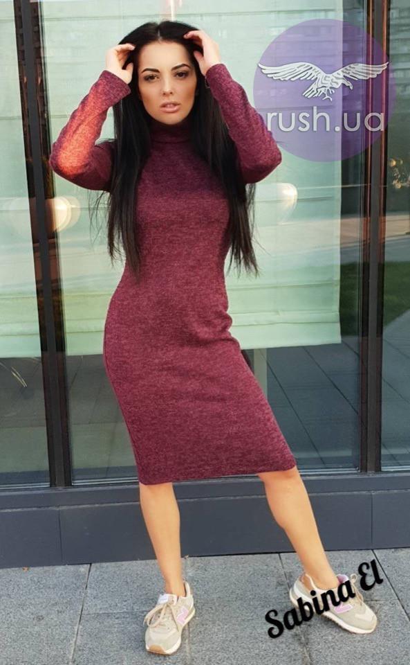 Теплое платье до колен из ангоры