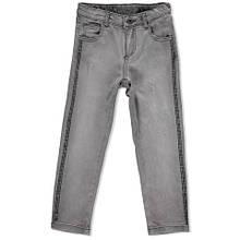 Нарядные детские джинсы для девочки с камешками на лампасах BRUMS Италия 163BGBF002 Серый