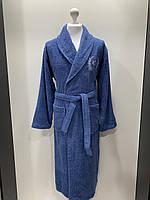 Махровый мужской халат 100% хлопок синий