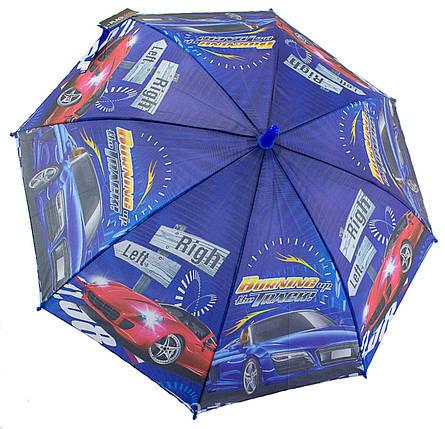 Зонт трость детский для мальчика полуавтомат Flagman с рисунком «Машинки» на 4-8 лет (1028399917), фото 2
