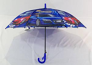 Зонт трость детский для мальчика полуавтомат Flagman с рисунком «Машинки» на 4-8 лет (1028399917), фото 3