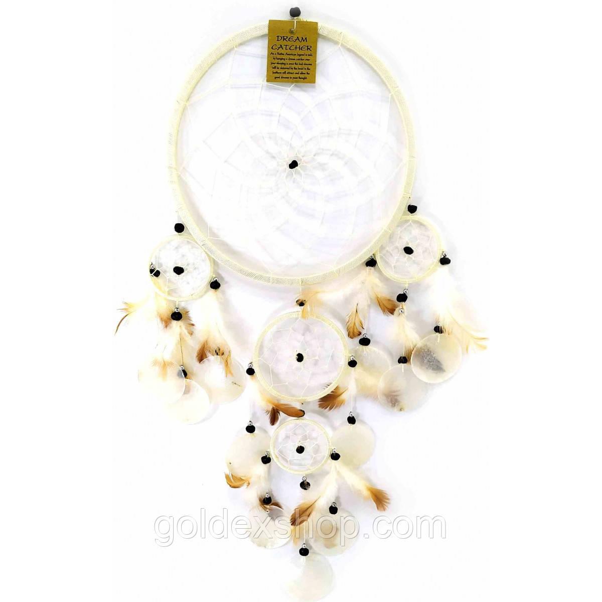 Амулет Ловец снов со ракушками белый (d-22 см h-60 см)