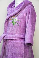 Махровый детский халат 100% хлопок лиловый