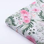 """Ткань муслин """"Розовые розочки и анемоны с вычурными листьями"""" зелёные на белом, ширина 160 см, фото 3"""