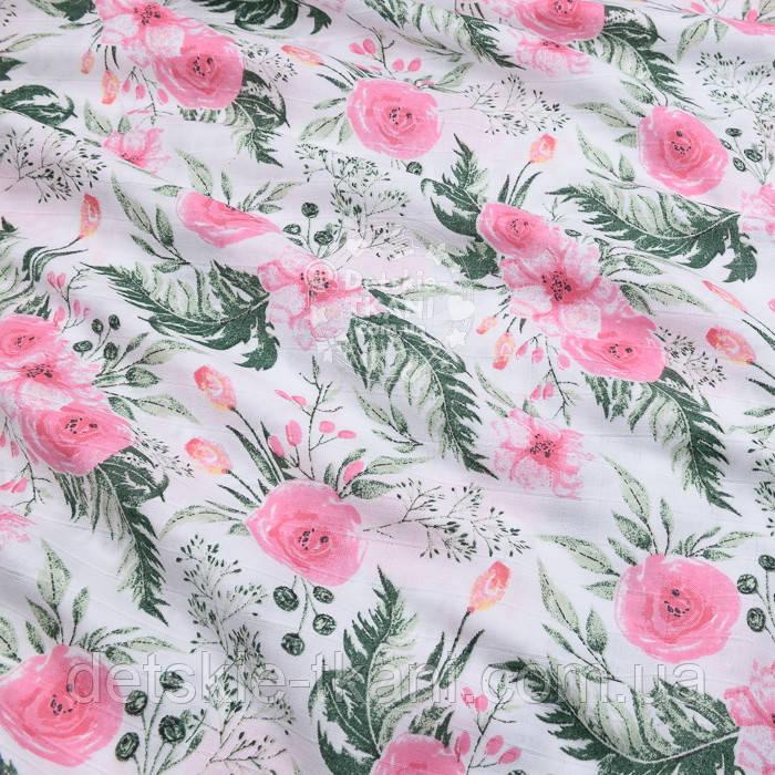 """Ткань муслин """"Розовые розочки и анемоны с вычурными листьями"""" зелёные на белом, ширина 160 см"""
