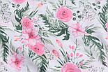 """Ткань муслин """"Розовые розочки и анемоны с вычурными листьями"""" зелёные на белом, ширина 160 см, фото 4"""