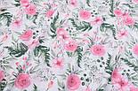 """Ткань муслин """"Розовые розочки и анемоны с вычурными листьями"""" зелёные на белом, ширина 160 см, фото 5"""