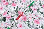 """Ткань муслин """"Розовые розочки и анемоны с вычурными листьями"""" зелёные на белом, ширина 160 см, фото 6"""