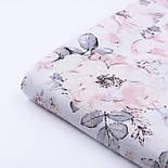 """Ткань муслин """"Дикие розы"""" пудровые на белом, ширина 160 см, фото 2"""