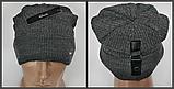 М 5073 Шапка чоловіча-підліткова кнопка, акрил, фліс, розмір вільний, фото 2