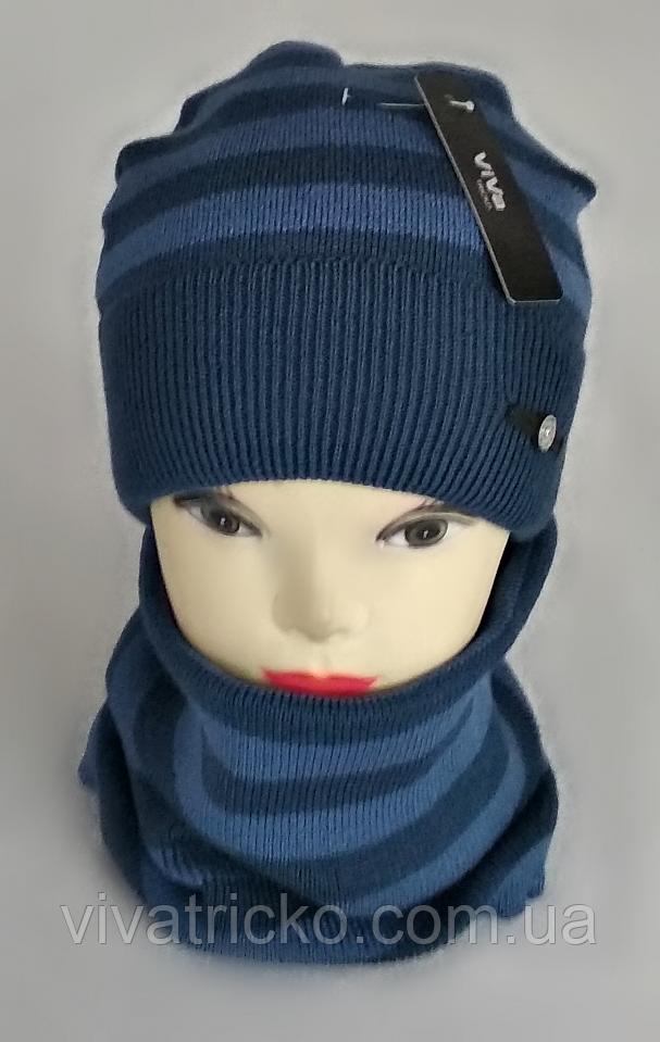 М 5090 Комплект хлопчик-підліткова шапка кнопка та баф, акрил, фліс