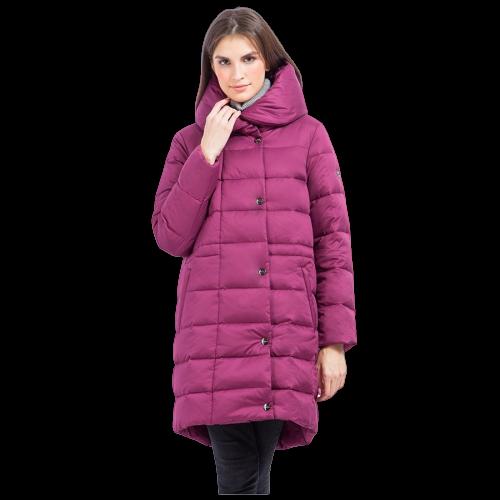 Женский зимний пуховик Finn Flare W17-11007-806 длинный темно-розовый