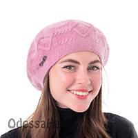 Розовый женский двухслойный берет из пряжи хлопка и ангоры