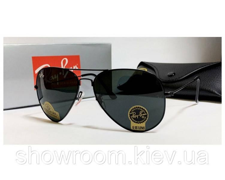 Чоловічі сонцезахисні окуляри в стилі RAY BAN aviator, чорна оправа